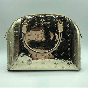 NWT Michael Kors Emmy Large Dome Satchel In Gold